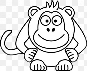 Spider Monkey Pictures Free - Cartoon Black And White Drawing Clip Art PNG