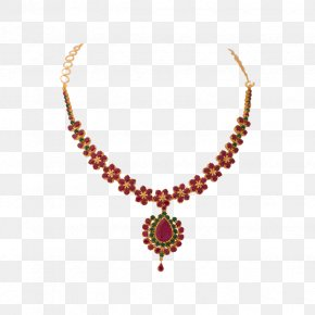 Necklace - Earring Jewellery Necklace Ruby Gold PNG