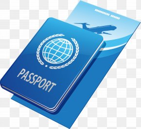 Blue Passport Plane Elements - Canada Passport Travel Visa Villa Tourism PNG