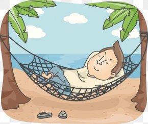 Resting Man - Beach Relaxation Hammock Clip Art PNG