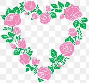 Pink Heart - Right Border Of Heart Rose Clip Art PNG