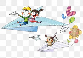 Child Sitting On Paper Plane - Paper Plane Airplane PNG