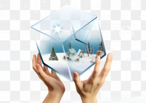 Holding A Glass House - Christmas Poster Lantern Festival Illustration PNG