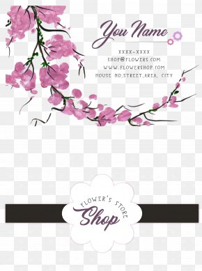 Romantic Cherry Blossom Flower Personal Card - Cherry Blossom Business Card PNG