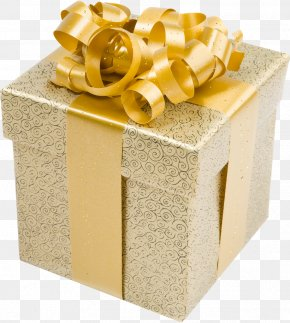 Cream Present Box With Gold Bow Clipart - Christmas Gift Gold Clip Art PNG