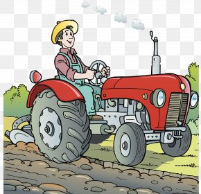 Cartoon Illustration; Farm Tractor; Planting - Tractor Agriculture Farm Cartoon Illustration PNG