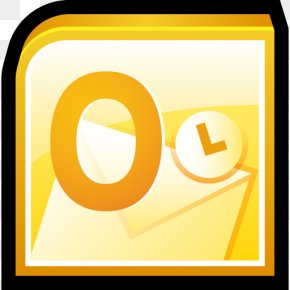 Microsoft Office Outlook - Text Brand Sign Circle Yellow PNG