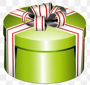 Green Round Present Box With Bow Clipart - Gift Box Stock Photography Clip Art PNG