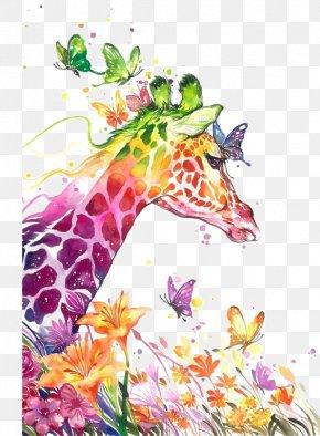 Watercolor Painting Giraffe PNG