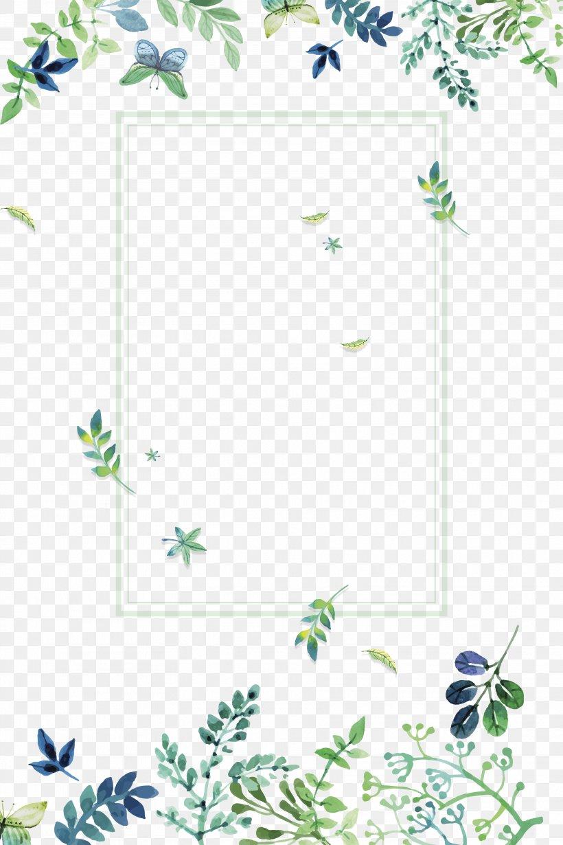 Fresh Flowers Green Plant Border Hand Painted Simple, Hand ... |Green Flower Border