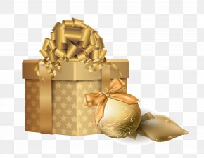 Golden Gift - Christmas Gift Christmas Gift Clip Art PNG