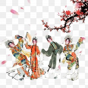 Ink Painting Hand Painted Chinese Ancient Wind Peking Opera Characters - Ink Wash Painting Peking Opera PNG