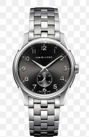Hamilton Watch Silver Black Male Watch - Hamilton Watch Company Strap Quartz Clock PNG