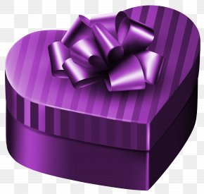Purple Luxury Gift Box Heart Clipart Image - Gift Box Purple Clip Art PNG