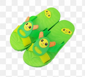 Green Cartoon Child Sandals - Slipper Cartoon Child Download PNG