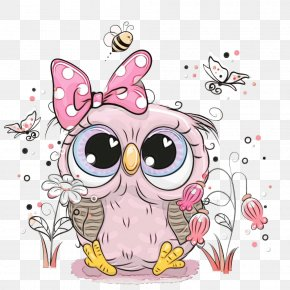 Bird Of Prey Bird - Owl Pink Cartoon Bird Bird Of Prey PNG