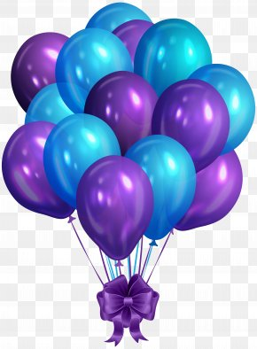 Blue Purple Bunch Of Balloons Clip Art Image - Balloon Blue Clip Art PNG