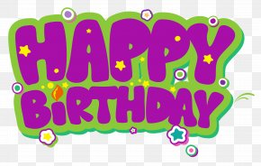 Purple And Green Happy Birthday Clipart Picture - Birthday Cake Clip Art PNG