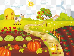 Vegetable Farm Chickens And Cattle Vector - Vegetable Farming Organic Food Clip Art PNG