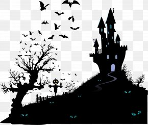Vector Black Silhouette Haunted House - Housewarming Party Halloween Wedding Invitation Moving Party PNG