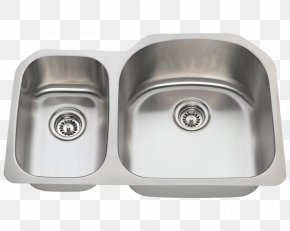 Stainless Steel Kitchenware - Kitchen Sink Stainless Steel Brushed Metal PNG
