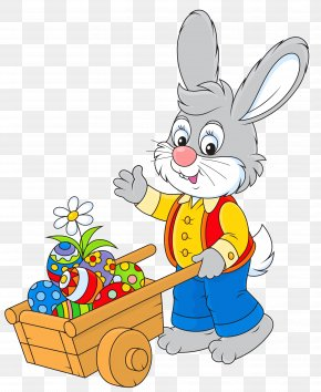 Easter Bunny With Egg Cart Picture - Easter Bunny Clip Art PNG