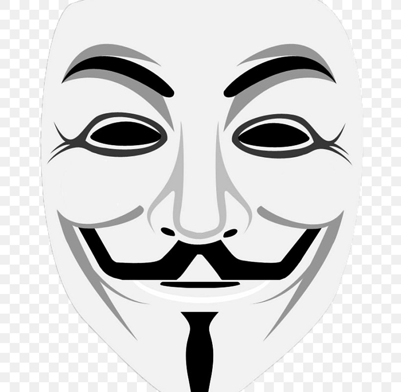 Guy Fawkes Mask Anonymous Security Hacker, PNG, 800x800px, Guy Fawkes Mask, Anonymous, Black And White, Computer Security, Costume Download Free