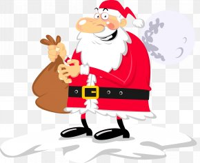 Vector Santa Claus Was Stepping On Clouds - Euclidean Vector Santa Claus Caricature Illustration PNG