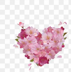 Pink Heart Shaped Cherry Vector - Heart Pink Flowers Pink Flowers Clip Art PNG