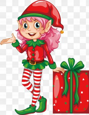 A Red Dress Elf - Igloo Elf Drawing Illustration PNG