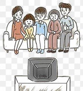 Cartoon Family Watching TV Illustrations - Cartoon Television Drawing Illustration PNG