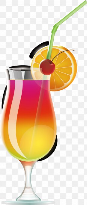 Summer Drinks Vector - Wine Cocktail Juice Tequila Sunrise Margarita PNG