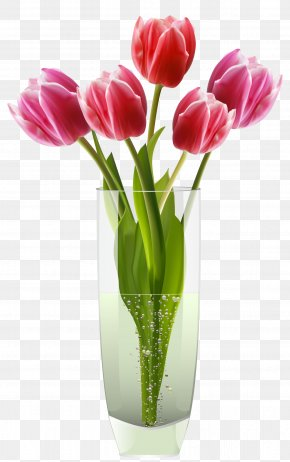 Pink Red Tulips Vase Clipart - Tulip Vase Tulip Vase Flower PNG