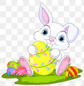Easter Bunny With Eggs Decor Clipart Picture - Easter Bunny Domestic Rabbit Clip Art PNG