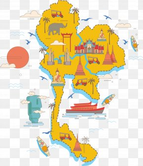 Thailand Sightseeing Map - Thailand Vector Map Poster PNG
