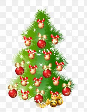 Red Christmas Ball With Christmas Tree - Christmas Tree Euclidean Vector New Year Tree PNG