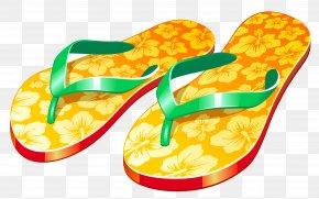 Transparent Yellow Beach Flip Flops Clipar - Flip-flops Sandal Slipper Shoe PNG