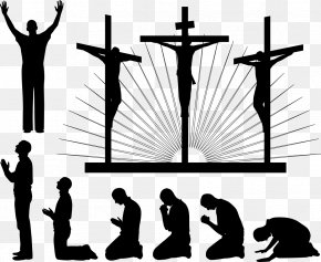 Cross Prayer Pose Silhouette Figures - Religion Christian Cross Christianity Prayer PNG