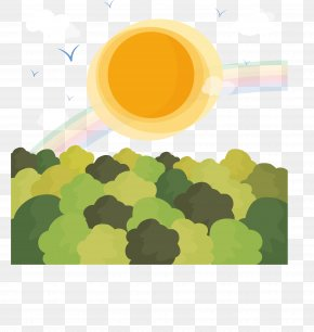 Cartoon Sunshine Under The Forest Landscape Vector Material - Landscape Euclidean Vector Clip Art PNG