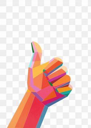 Colorful Geometric Thumb - Thumb Gesture Finger PNG
