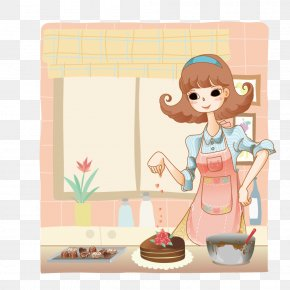 Female Home Cooking - Cartoon Drawing Comics Illustration PNG