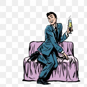 Man Sitting On The Couch Drinking - Couch Cartoon Illustration PNG