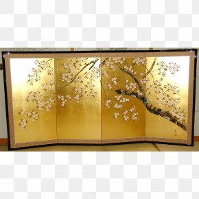 Picture Frames Heian Period Gold Leaf Folding Screen Japanese Painting PNG