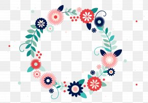 Vector Colorful Flower Frame - Typography Flower Wreath PNG