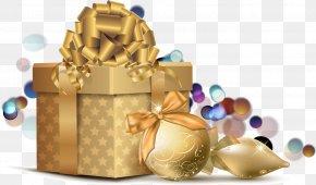 Vector Golden Christmas Gift - Christmas Card Clip Art PNG