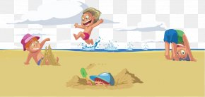 Children On The Beach - Cartoon Beach Drawing Clip Art PNG