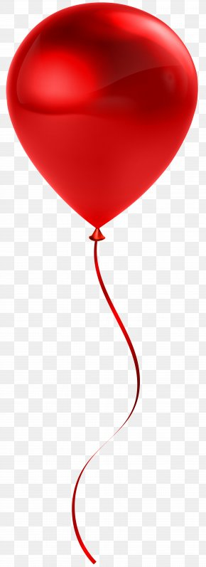 Single Red Balloon Transparent Clip Art - Red Balloon Heart Design PNG