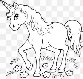 Unicorn - Unicorn Coloring Book Page Child PNG