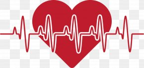 Heart Of Love Red Broken Line - Heart Rate Red Love Pulse PNG