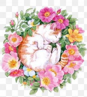Cat Among The Flowers - U82b1u4e4bu7e6a: 38u7a2eu82b1u7684u8272u925bu7b46u5716u7e6a Colored Pencil Flower Painting Drawing PNG